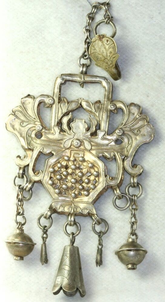 Amulet Jewelry Pendants Sothon: ANTIQUE CHINESE QING DYNASTY STERLING SILVER AMULET