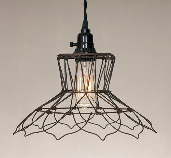 primitive new vintage wire hanging light plug in light nice ebay. Black Bedroom Furniture Sets. Home Design Ideas