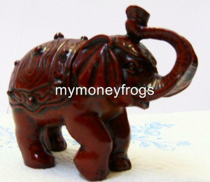 red wood tone chinese oriental feng shui lucky trunk up elephant figurine sr1 ebay. Black Bedroom Furniture Sets. Home Design Ideas