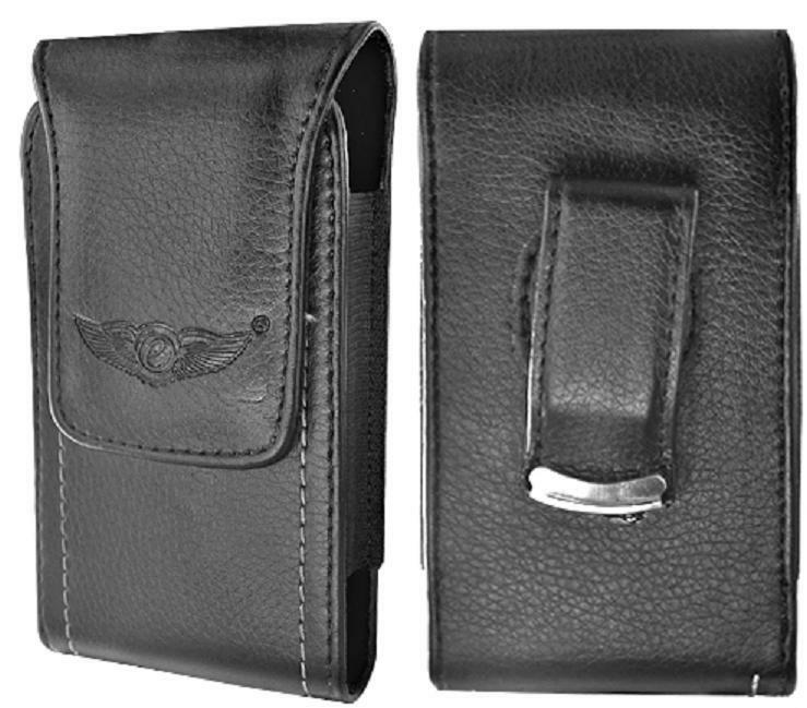 premium leather pouch vertical cell phone holder with