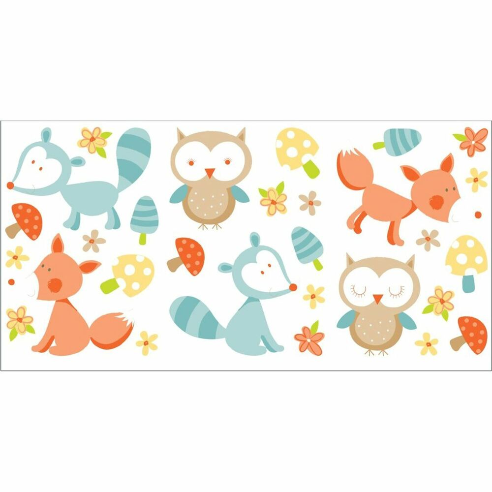 forest friends 29 wall stickers new owls foxes ebay. Black Bedroom Furniture Sets. Home Design Ideas