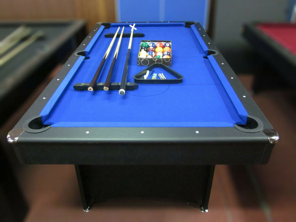 7 FOOT BLUE FELT POOL TABLE WITH ACCESSORIES | eBay