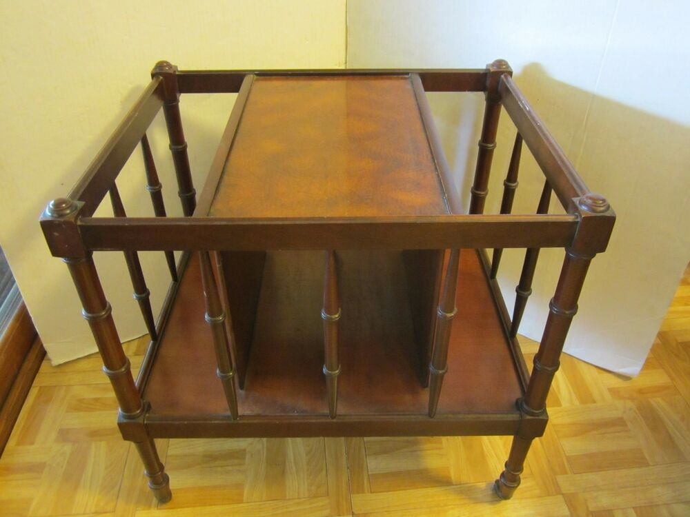 Antique mahogany wood table magazine rack spindles brass for Wood balusters for tables