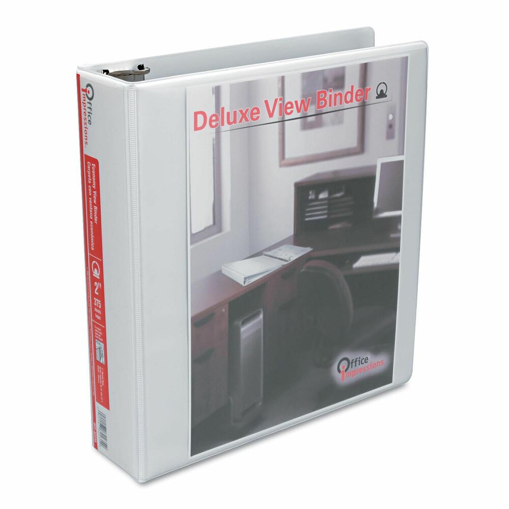 Deluxe View 2 Inch 3 Ring Binder Round Ring White Office