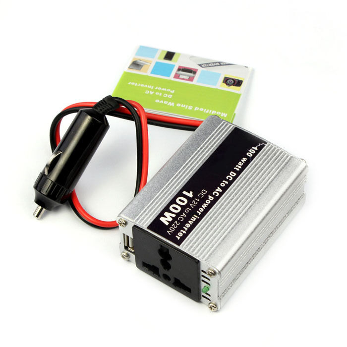 Car DC 12V to AC 220V 100W Power Inverter Adapter with USB All Plug ...