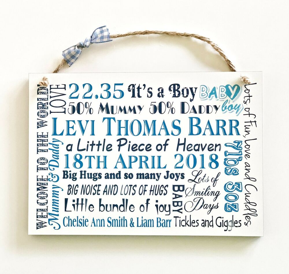 Baby Gift Name Plaque : Baby girl boy personalised gift plaque birth newborn