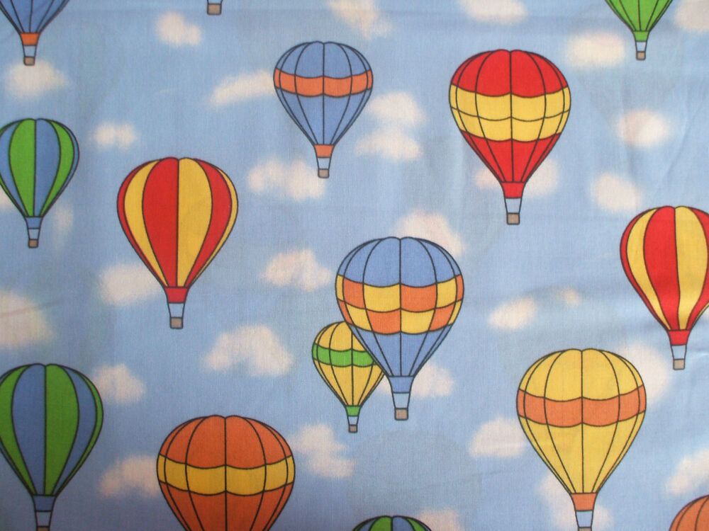 Hot air balloons 100 cotton childrens print fabric ebay for Childrens fabric uk