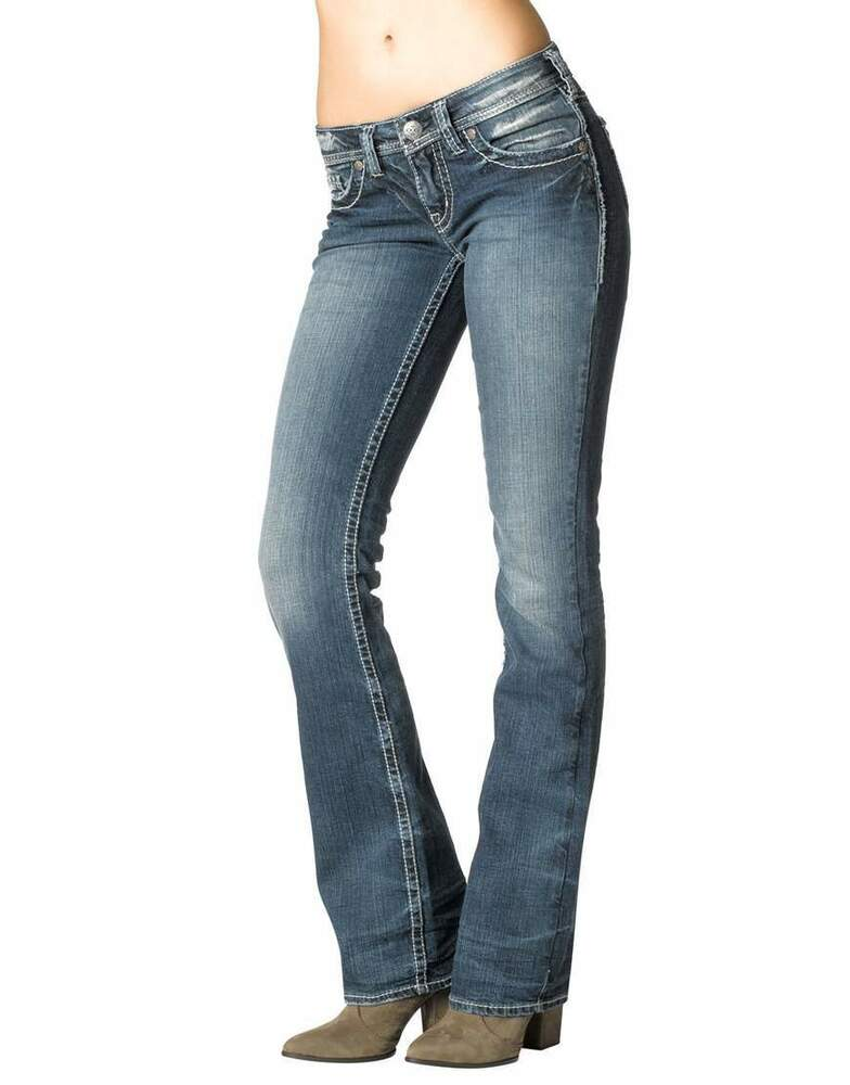 New Silver Jeans Co Woman Aiko Boot Cut Pants Mid Rise