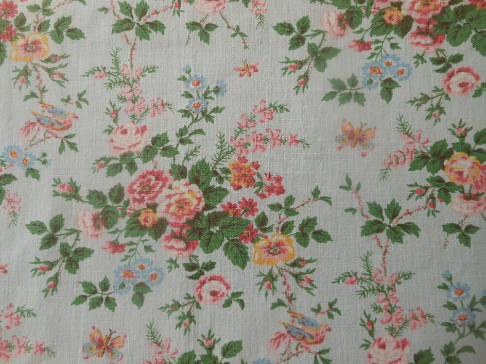 Vintage French Cottage Roses Birds Butterfly Cotton Fabric