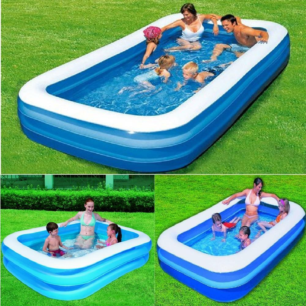 Bestway inflatable family lounge rectangular paddling for Garden pool loungers
