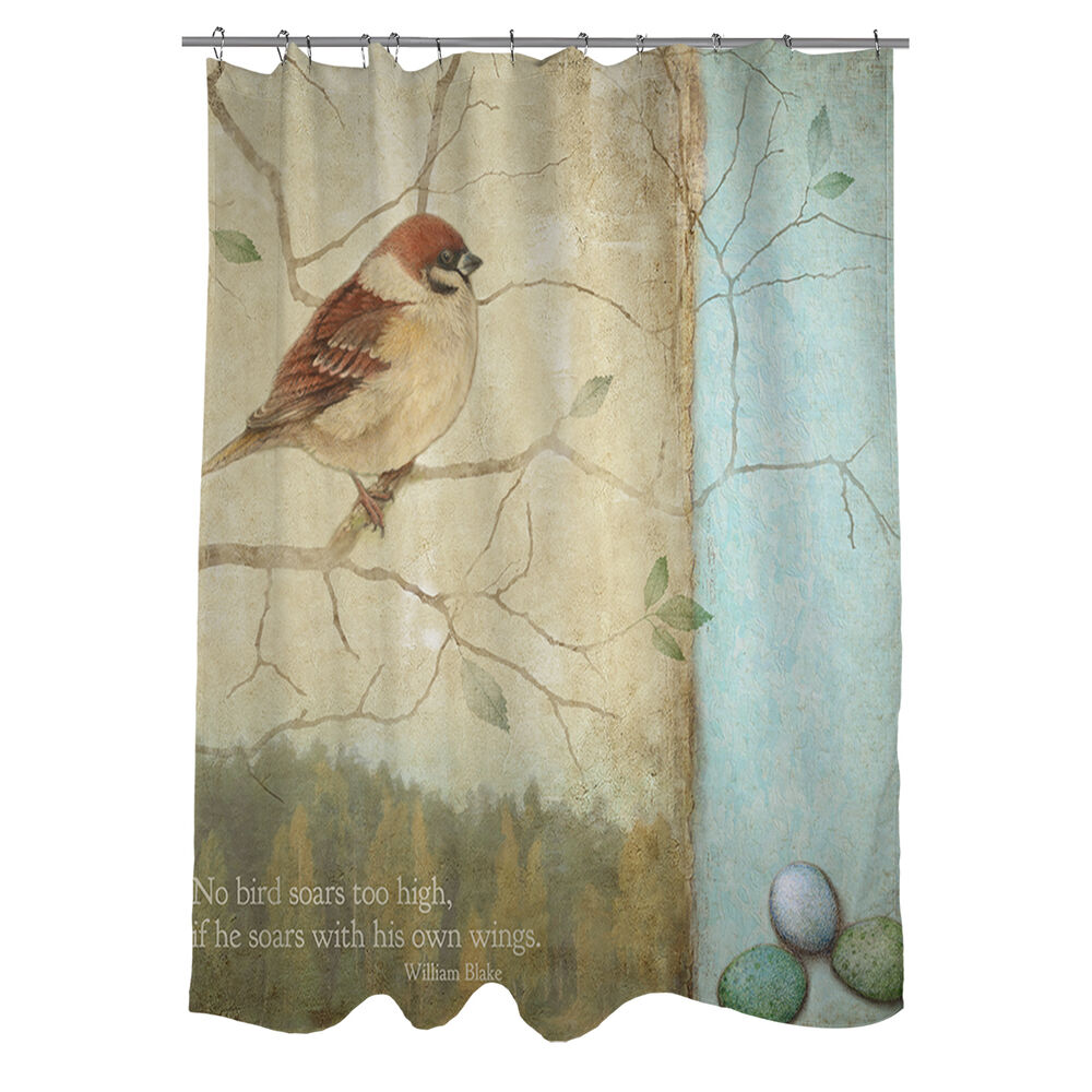 Thumbprintz Bird Quote Sparrow Shower Curtain | eBay