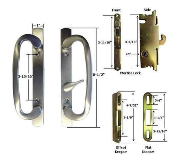 Patio Door Handle Kit Mortise Lock Keepers B Position
