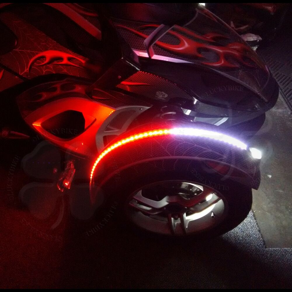 1x Red White Dual Color Fender Channel Flex LED Strips Can Am Spyder RS ST RT F3 : eBay