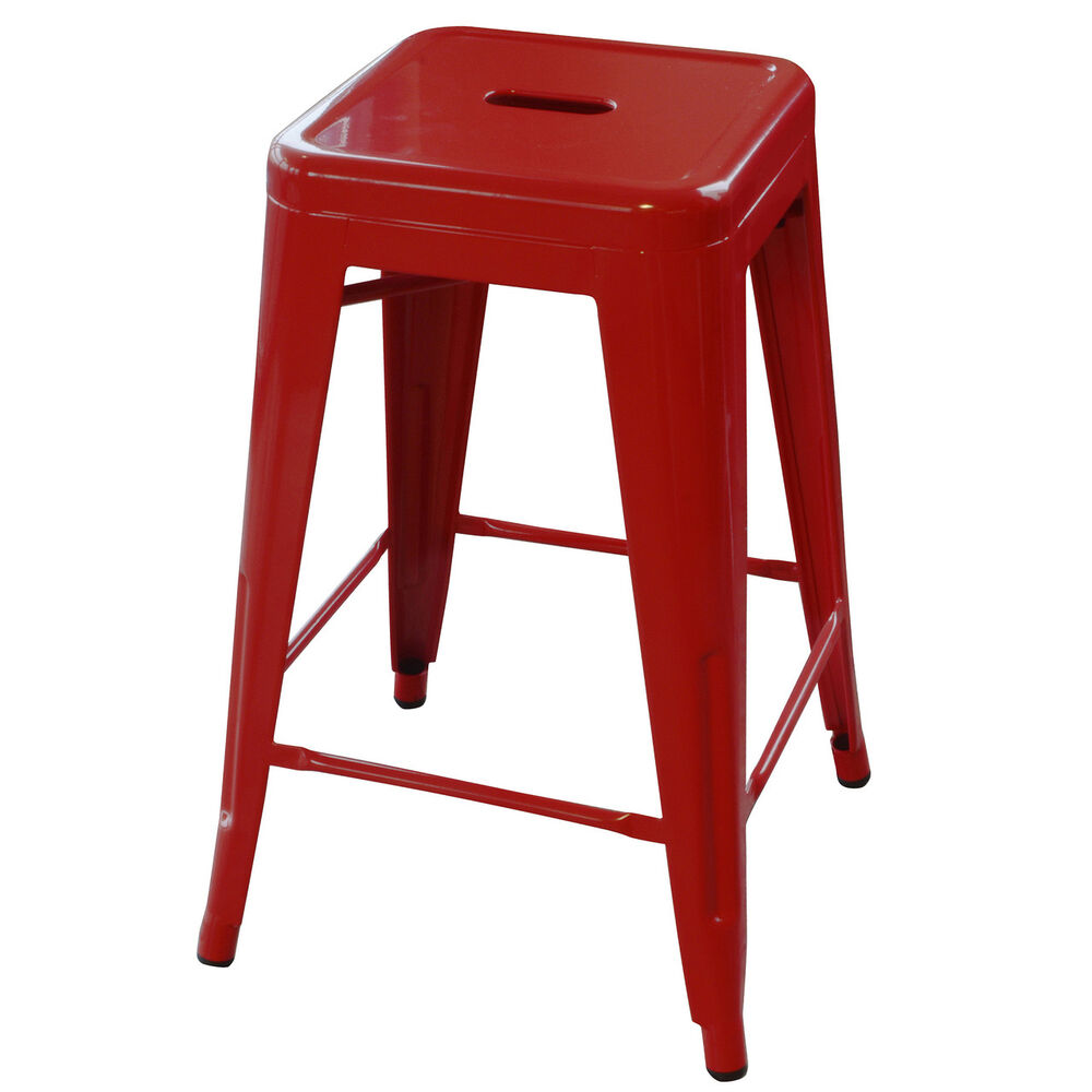 Amerihome Bs24red 24 Inch Red Metal Bar Stool 2 Piece Ebay