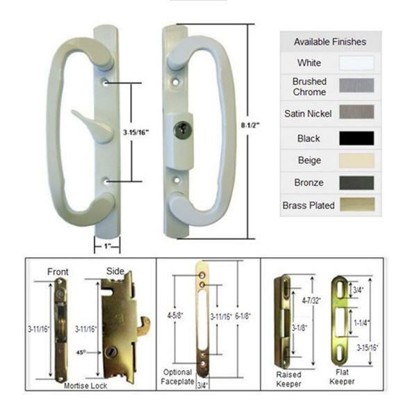 Patio Door Handle Kit With Mortise Lock And Keepers A