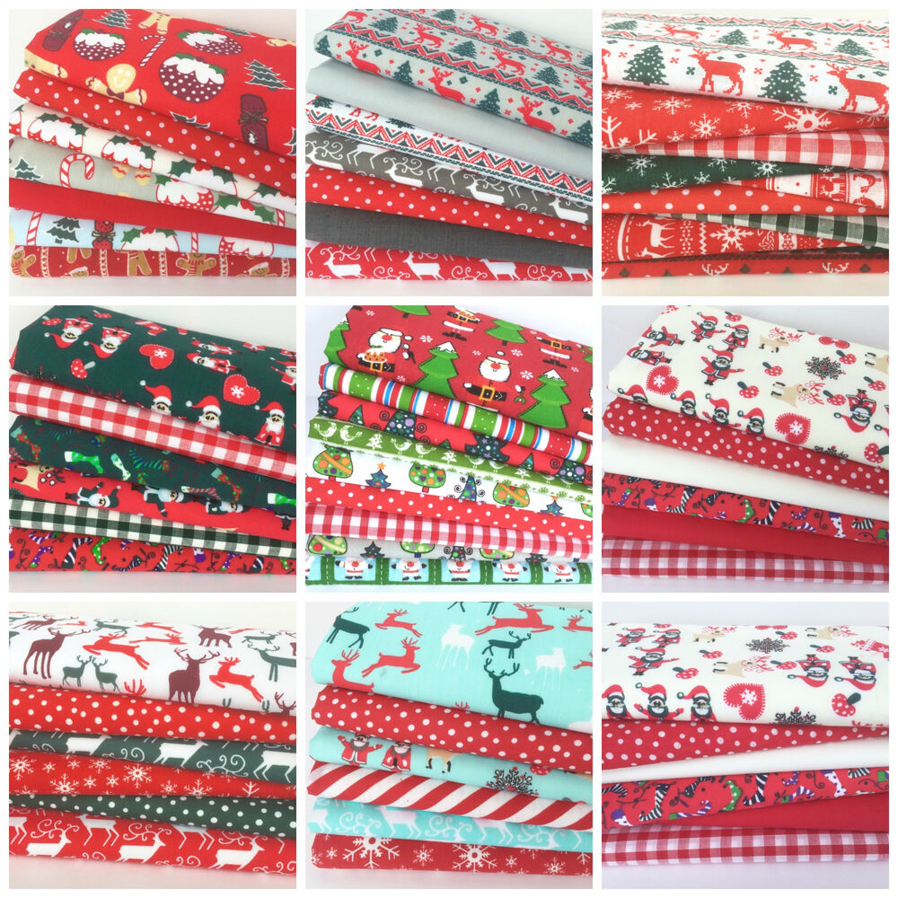 Polycotton christmas fat quarter bundles craft fabric poly for Childrens fabric bundles