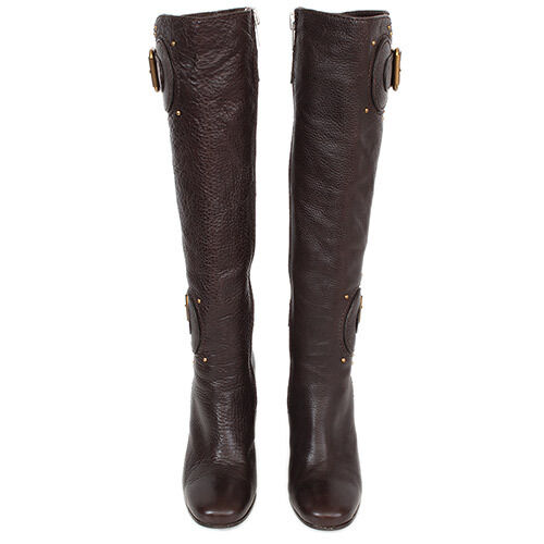 31265 auth brown leather knee high boots shoes