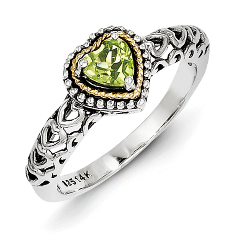 Gold Peridot Heart Ring