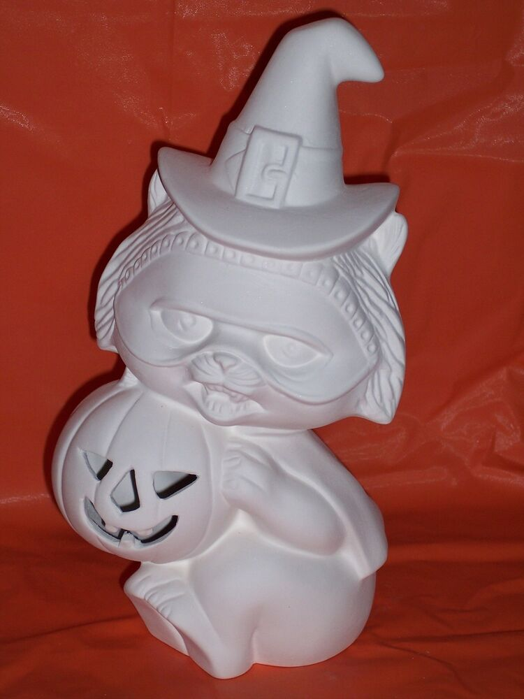 Ceramic bisque ready to paint witch cat with pumpkin for Paint and pottery