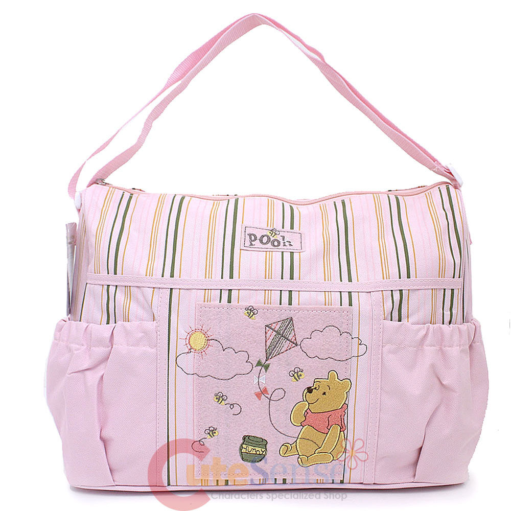 disney baby winnie the pooh deluxe pink diaper bag for girls diaper pad ebay. Black Bedroom Furniture Sets. Home Design Ideas