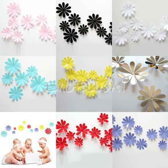 3d flower 12pcs sticker art design decals wall stickers for Home decorations ebay