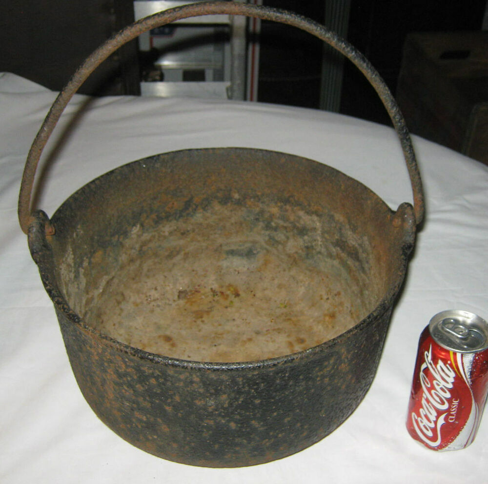 Cooking With A Kettle ~ Antique primitive stove fire hearth cast iron cooking