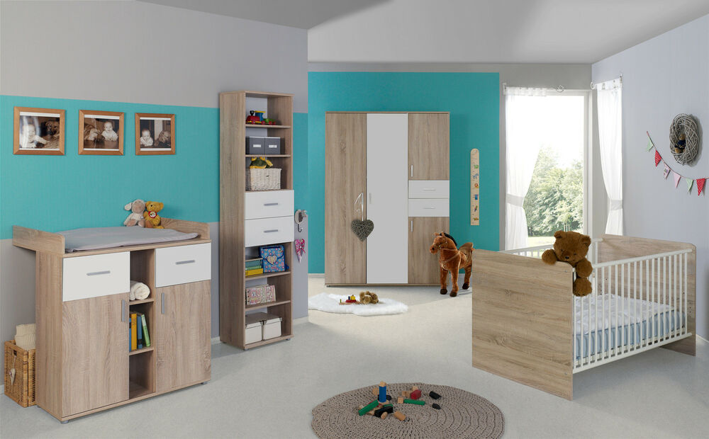 babyzimmer kinderzimmer komplett set babymatratze komplettset elisa in eiche ebay. Black Bedroom Furniture Sets. Home Design Ideas