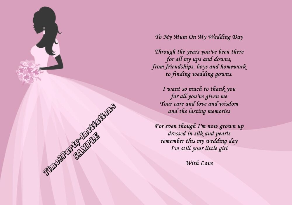 A4 Wedding Day Thank You Gift, Mother Of The Bride Poem