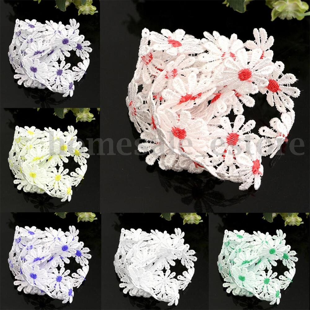 Yard white flower embroidered lace trim fabric sewing