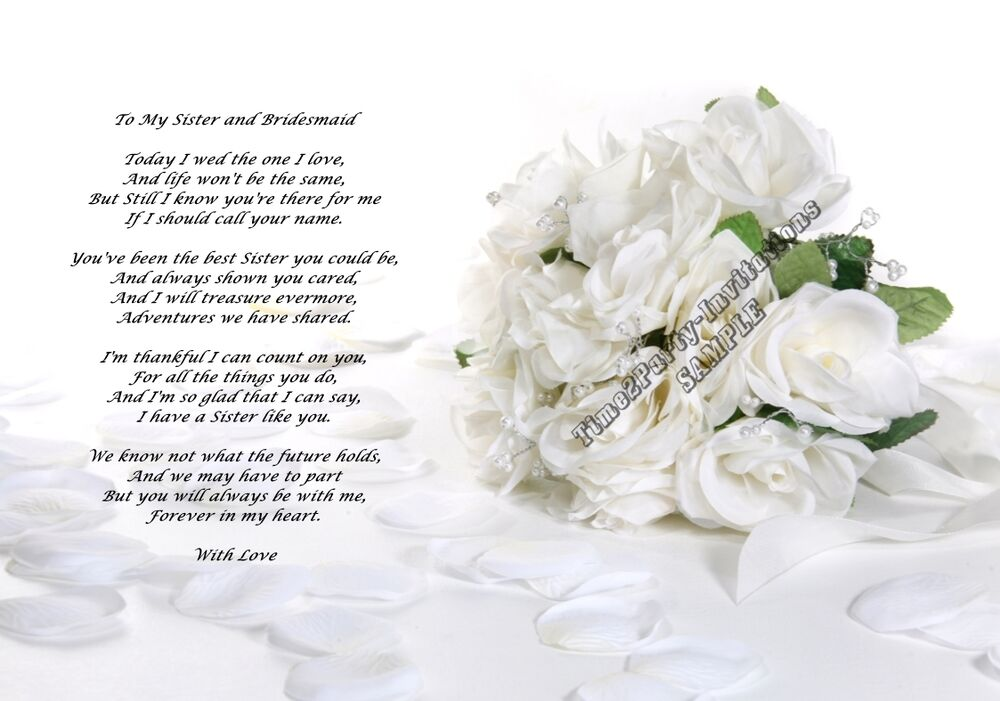 Special Gift For Sister On Her Wedding Day : ... Sister and Bridesmaid Wedding Thank You Poem, Great Unique Gift eBay