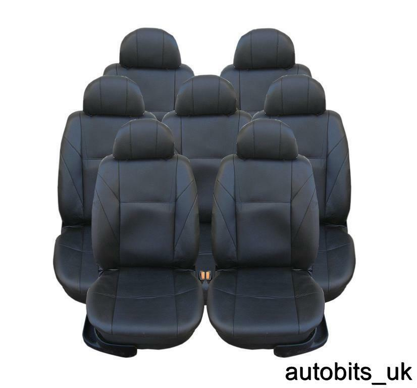 FULL SET BLACK LEATHER 7X SEAT COVERS FOR 7 SEATER FORD S