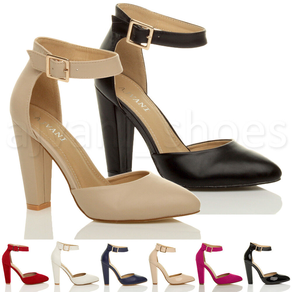Block High Heel Shoes With Straps