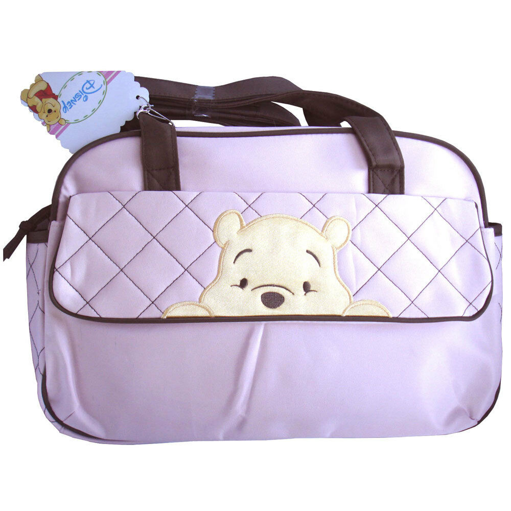 disney winnie the pooh peeking pooh baby girls light pink tote diaper bag new ebay. Black Bedroom Furniture Sets. Home Design Ideas