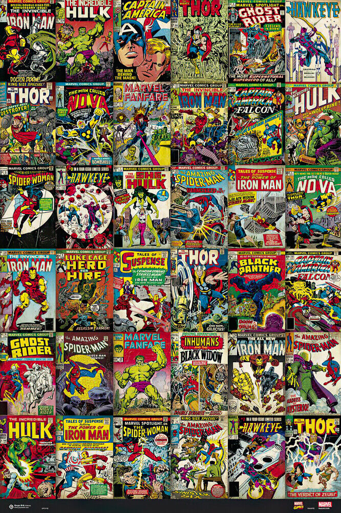 Classic Book Covers Collage ~ Marvel comics poster print image classic comic