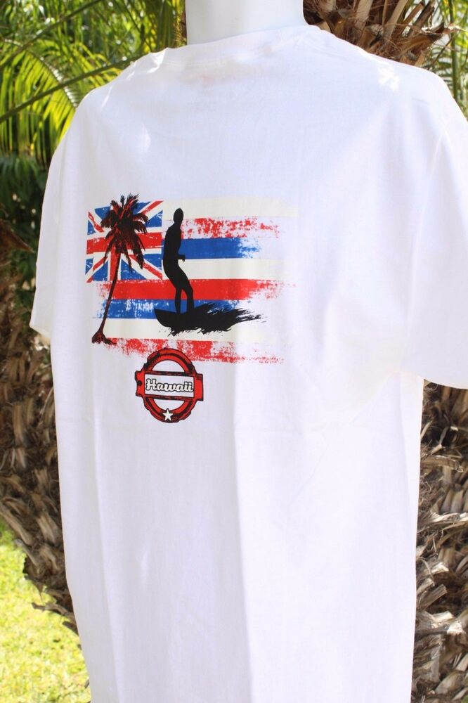 New white red blue hawaii state flag surfer surfing for Hawaiian graphic t shirts