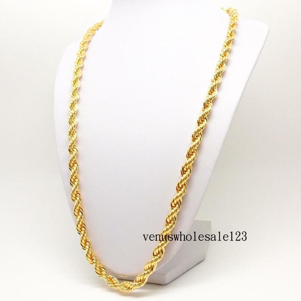 24quot 9k yellow gold filled mens jewelry rope chain link