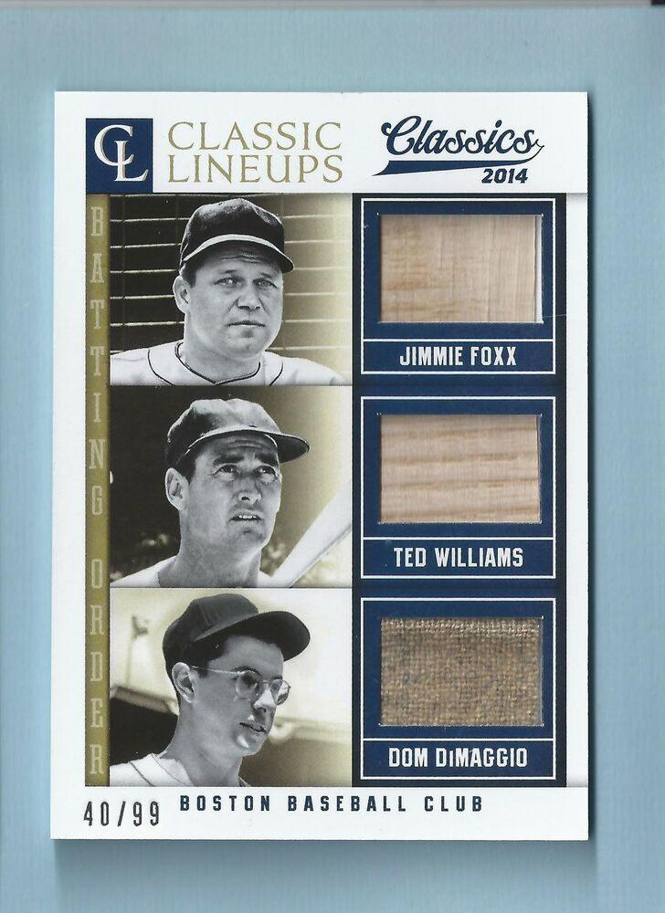 JIMMIE FOXX TED WILLIAMS DOM DIMAGGIO 2014 CLASSIC LINEUPS GAME BAT JERSEY /99  eBay