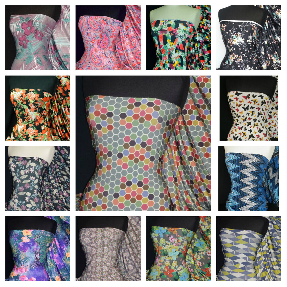 Printed silk soft touch 4 way stretch lycra fabric for Fabric material