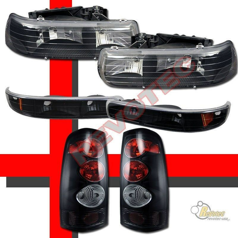 1999 2002 chevy silverado 1500 2500 headlights bumper signal lights black ebay