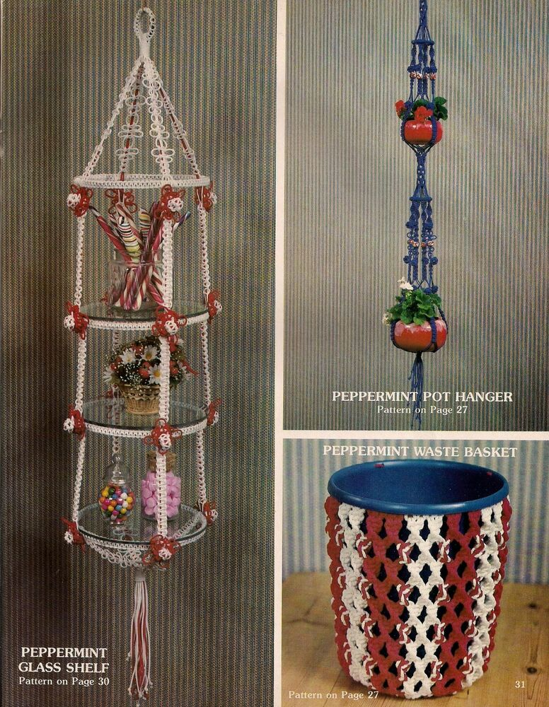 macrame patterns hanging basket macrame hanging shelf plant hanger waste basket craft 2588