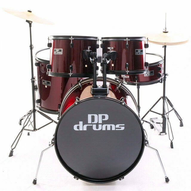 5 Piece Drum Kit Full Size Complete Set Cymbals Stool Wine