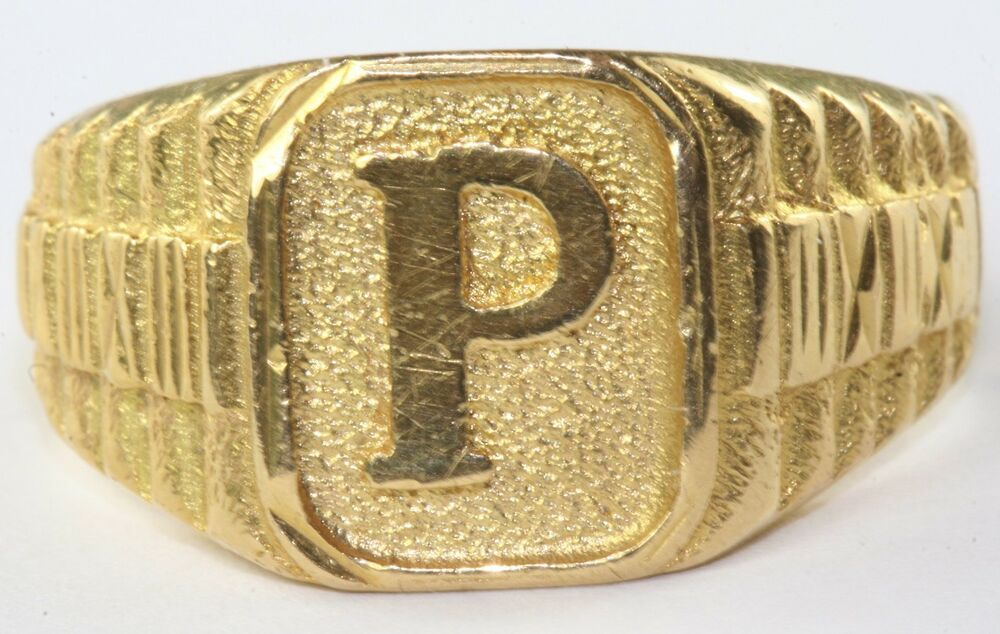 MENS 22K 916 GOLD LETTER INITIAL P RING SIZE 8.75 - 9 ...