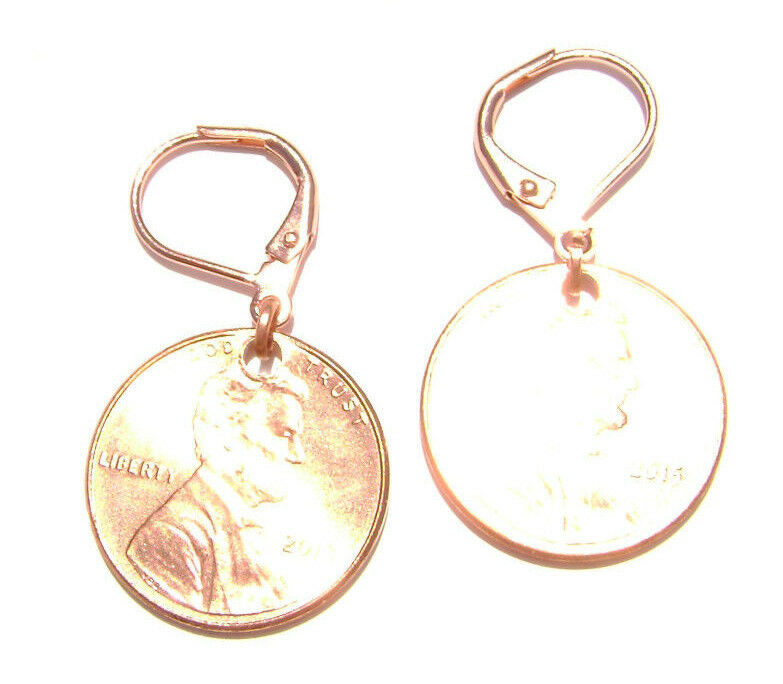 Penny Coin Earrings On Leverback Brass Hook Rose Gold Copper Lincoln 1 Cent Ebay