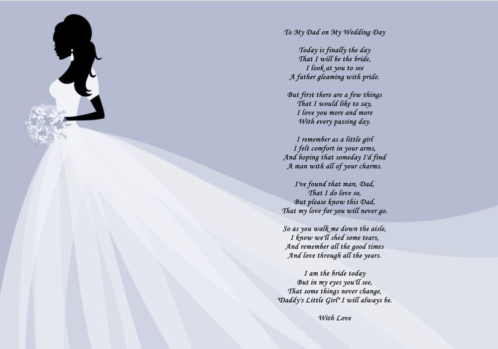 Gifts For Your Daughter On Her Wedding Day: A4 Father Of The Bride Poem Daddys Girl To My Dad On My