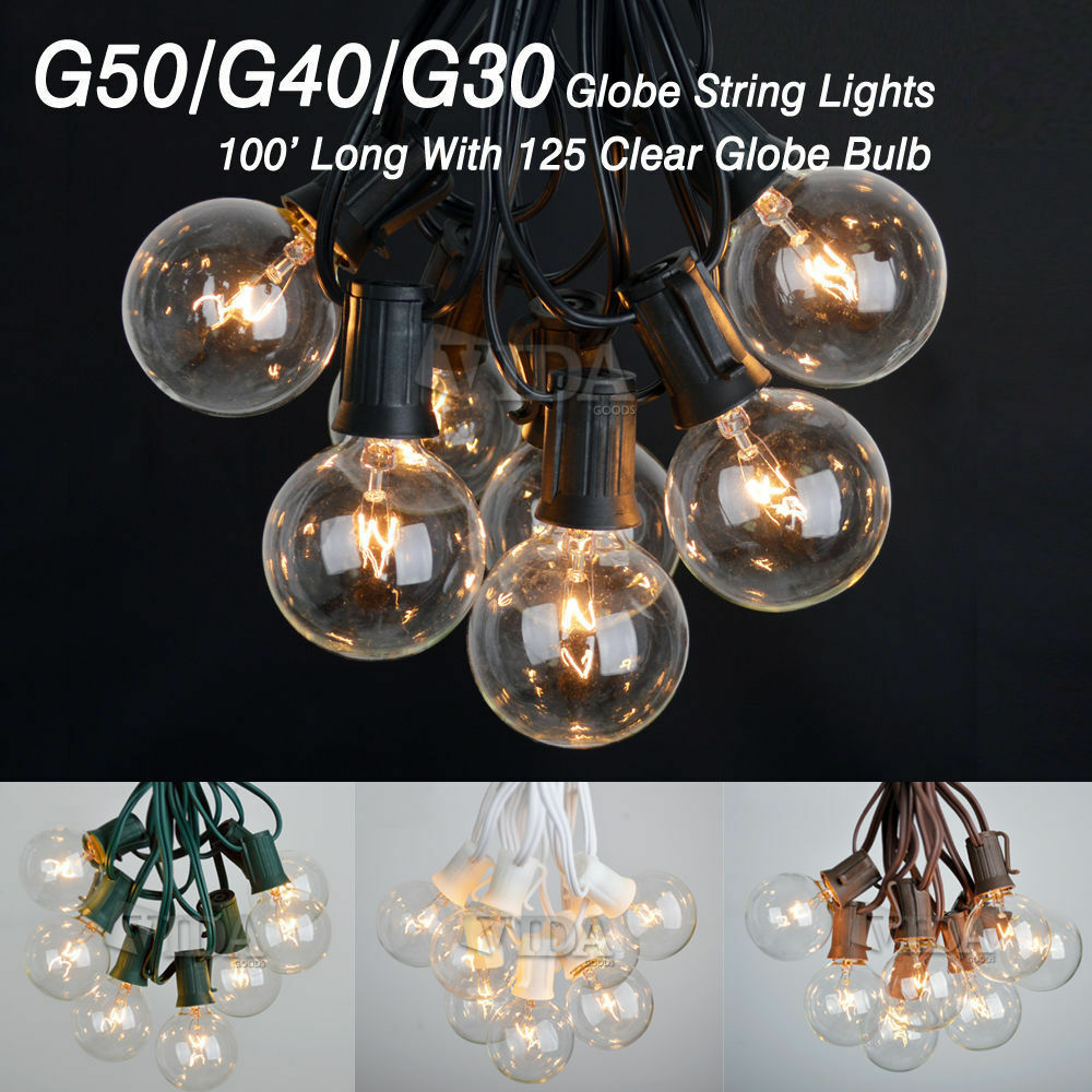 G40 String Lights Wedding : 100 Foot Outdoor Globe Patio String Lights - Set of 125 G50/G40/G30 Clear Bulbs eBay