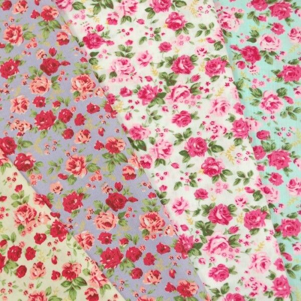 Ditsy Floral Pink Roses Polycotton Fabric Ebay