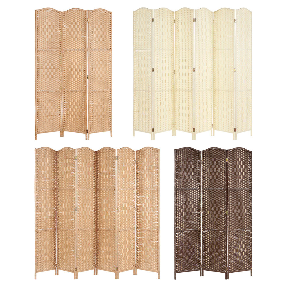 Solid weave hand made wicker folding room divider separator privacy screen panel ebay - Collapsible room divider ...