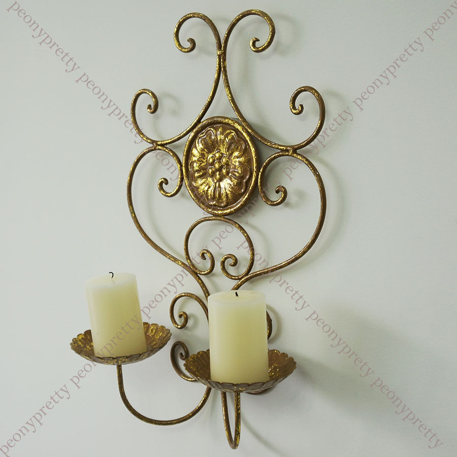 Vintage handmade gold painted iron wall mount candle for Iron home decor