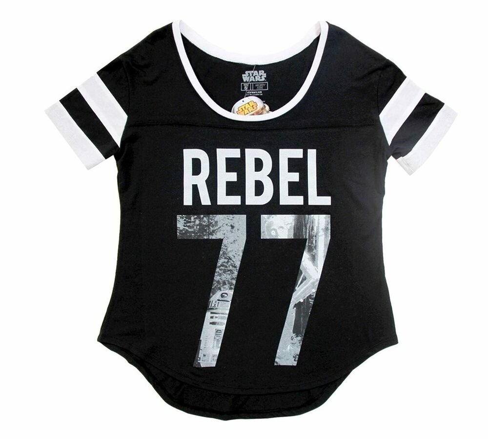 juniors black action movie star wars rebel 77 r2 d2 c 3po t shirt tee ebay. Black Bedroom Furniture Sets. Home Design Ideas