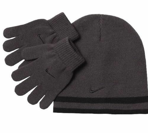 Nike Boys Knit Hat & Gloves Set 8-20 Beanie REVERSIBLE